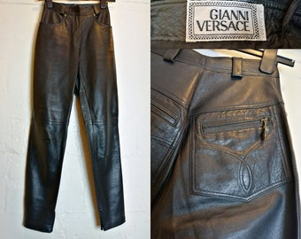 9435db2282cca Iconic Vintage 90 s GIANNI VERSACE Leather Pants Zipper Ankles Medusa UK 6 8