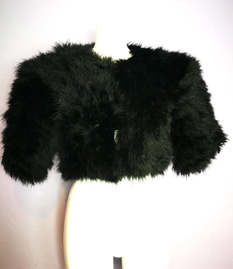 5284398f81b Vintage VERA MONT Black Marabou Feather Cropped Jacket Shrug | Etsy
