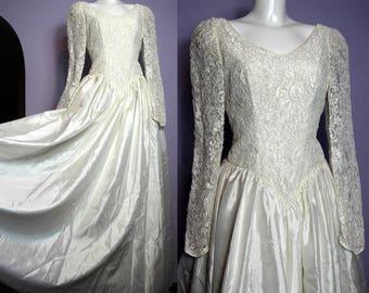 Sale /// Beautiful Vintage Pure Silk Soutache Lace Top Full Skirt Wedding Dress Eu 38 Uk 10