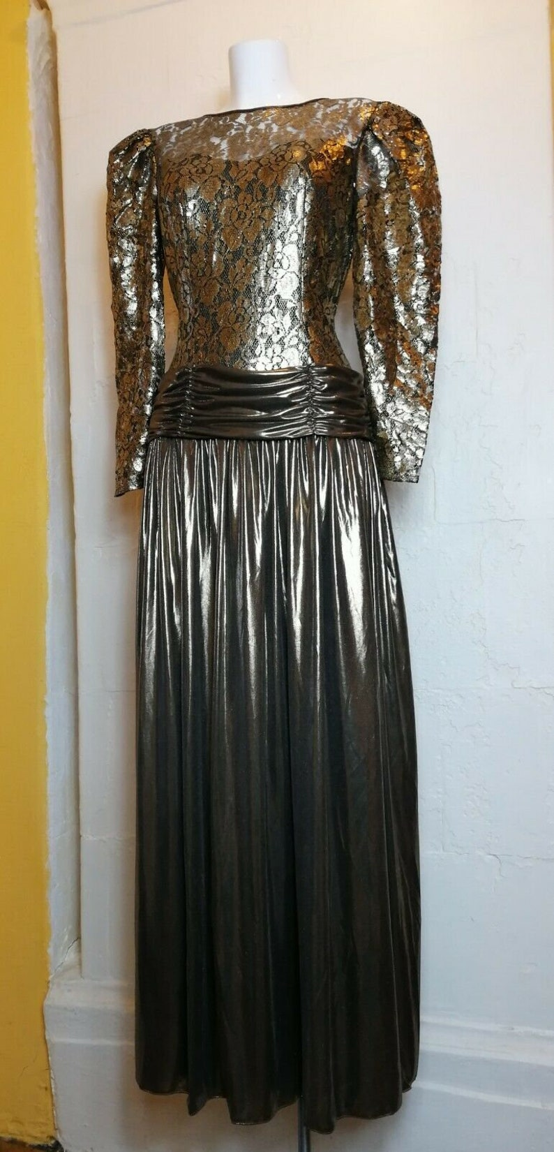 f61c699a0b27 Stunning 80 s VERA MONT Gold Maxi Gown Lace Top Draped