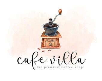 Coffee Logo Design Vintage Antique Watercolor Grinder Grind Cafe Beans Premade