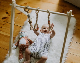 Wooden Baby Play Gym ↠ Ships Fast ↠ Foldable ↠ Eco-friendly Organic Toys ↠ Scandinavian Minimalism ↠ Hanging Toys NOT included
