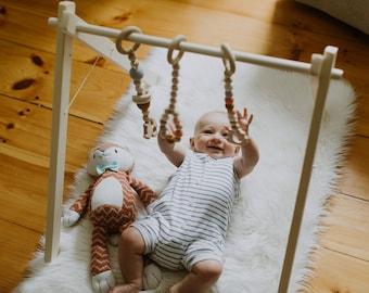 Wooden Baby Gym ↠ Ships Fast & Free↠ Foldable ↠ Eco-friendly Organic Toys ↠ Scandinavian Minimalism Stylish ↠ Gentle Sensory Toys