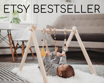 Wooden Baby Play Gym ↠ Ships Fast ↠ Scandinavian Minimalism ↠ Eco-friendly & Organic ↠ Hanging Toys NOT included