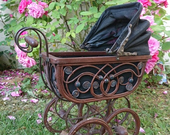 Vintage French Doll Pram – Blue and Brown