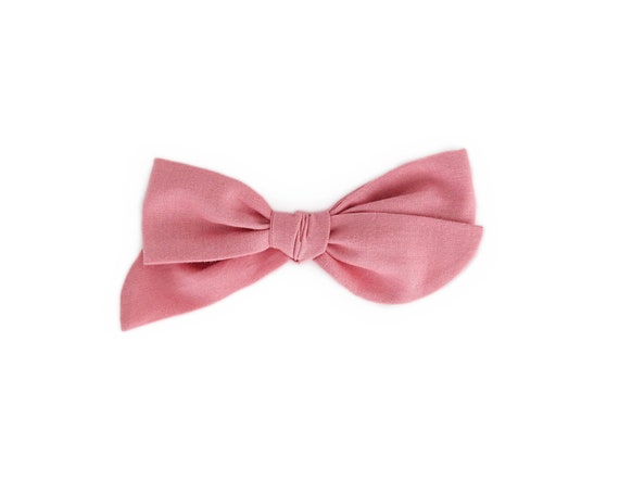 Knot Bow nylon headband or alligator clip Pink with White Stripes