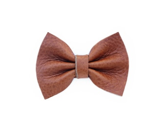 Brown Leather Girl Hair Bow   Newborn / Baby / Toddler / Child   Nylon Headband or Clip