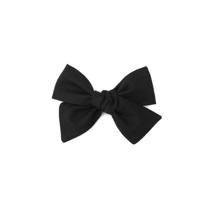 Baby Hair Clip Black Hair Bow Baby Headband Black Hand Tied Hair Bow Toddler Hair Bow Black Bow Black Baby Bow Black Headband