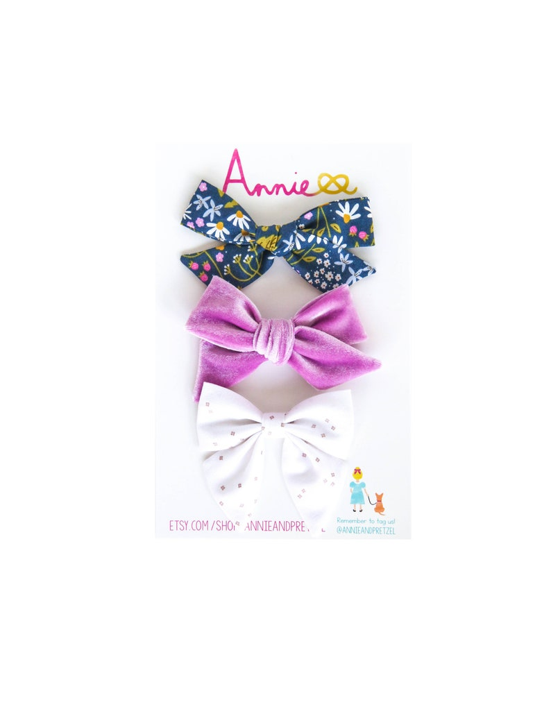 Girls' Accessories Velvet Hair Bow Set Of 3 Hair Clips Clothing, Shoes & Accessories