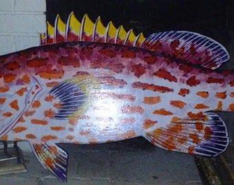Custom Painted Wooden fish - YELLOW FIN GROUPER