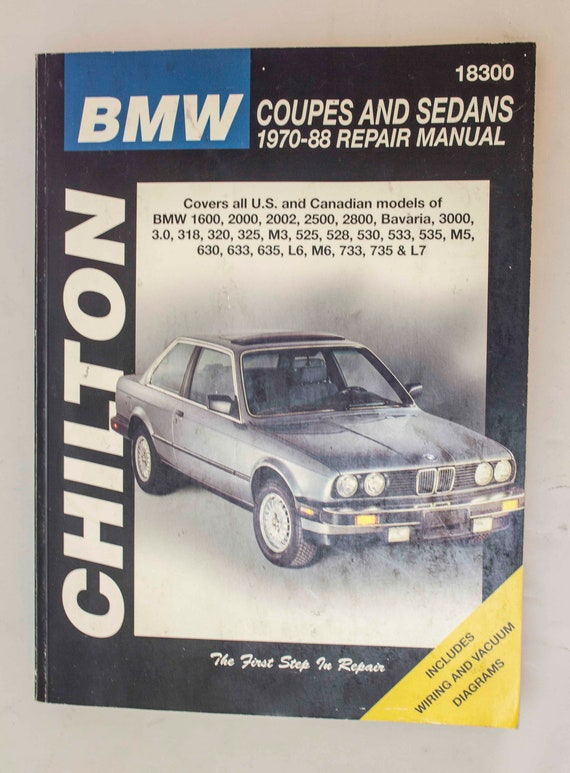 bmw coupes and sedans 1970 88 repair manual chilton etsy rh etsy com BMW Auto Repair Manuals bmw 630i service manual