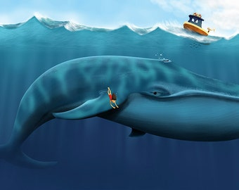 Childrens Art - MiMi Ventures, MiMi and the Whale, Illustration, Digital Art,