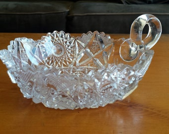 Vintage 1950's or Earlier Heavy Pressed Deep Cut Glass Nappy Bowl with Thumbrest