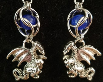 Handmade Chainmaille Free Floating Semi Precious Stone and Dragon Charm Earrings
