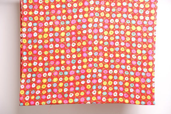 vintage large DEADSTOCK mid-century FLORAL FABRIC red rainbow large single piece
