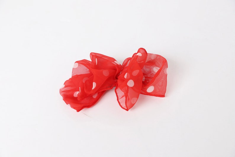 vintage 1980s WHITE /& red color BLOCK polka dot hair clip barrette BOW vintage 80s 90s accessory