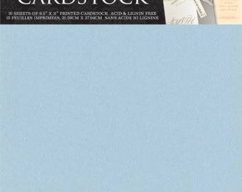 DCWV Cardstock Stack, Shimmer Blue, 10 Sheets, 8-1/2 x 11 inches