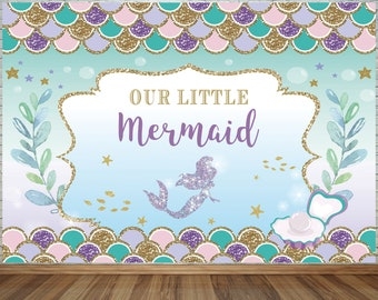 Tiffany Mermaid Backdrop Colorful Scales Under The Sea Little Princess Cartoon Background Birthday Party Decoration Baby Shower Photography