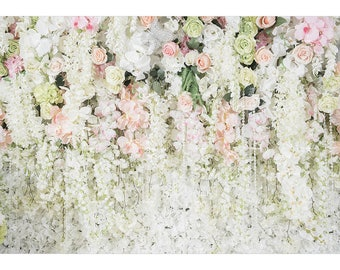 e59d09bb3948 Wedding Floral Photography Backdrops White Flower Wall Decor Printed Fabric Bridal  shower Children photo studio booth background