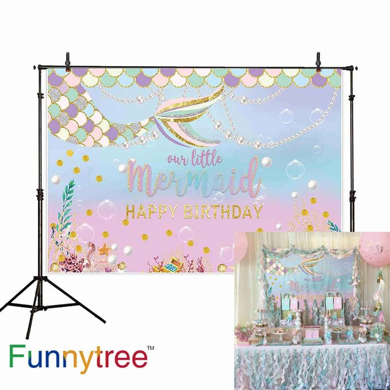 af0f264bbfe4 Pastle Little Mermaid Tails Backdrops for Girls Birthday Party Gold Glitter  Pink Blue Newborn Princess Baby Shower Decor Photo Booth Props