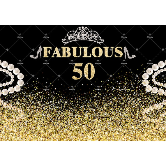 50th Birthday Invitation Glitter Overlay Shiny Backdrop Gold Etsy
