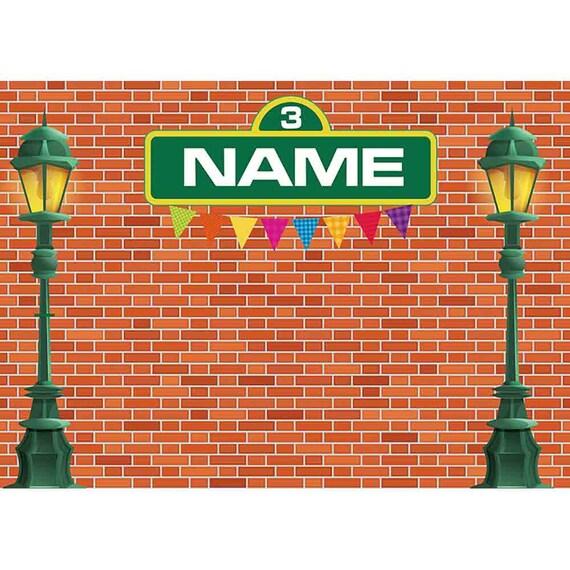 sesame street theme brick wall banner street light