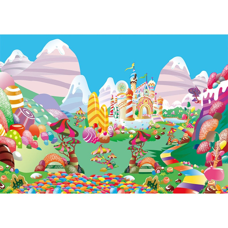 Candyland Sweets Candy Land Theme Baby Girl Birthday Backdrop