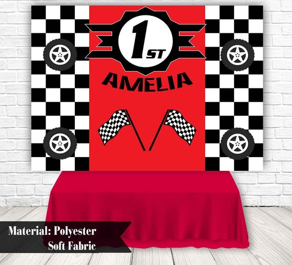 Race Car Birthday Party Backdrop Checkered Flag Children Party Etsy