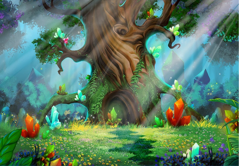 Forest Cartoon Magical Fairy Tale Wonderland Backdrop Children Enchanted  Photograph Background Birthday Party Stage Studio Photograph