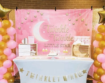 Pink Twinkle Twinkle Little Star Backdrop Clouds Baby Girl Princess Shower Birthday Party Decorations Watercolor Photography Background