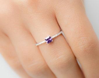 Custom Birthstone Ring - Amethyst Ring - Princess Cut Ring - Silver Birthstone Ring - Birthstone Jewelry - Silver Engagement Ring