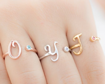 Personalized Bridesmaid Gift - Bridesmaid Jewelry - Rose Gold Initial Ring - Birthstone Ring -  Personalized - Custom Ring - Adjustable Ring