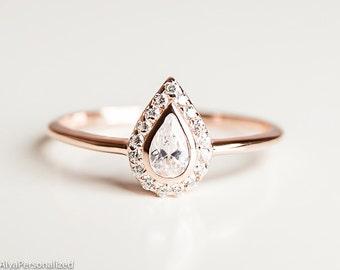 Pear Cut Engagement Ring   Unique Engagement Ring   Halo Engagement Ring    Pear Diamond Engagement Ring   Rose Gold Engagement Ring