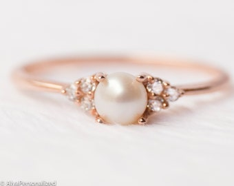 91609fcd9 14k Rose Gold Engagement Ring, Pearl Engagement Ring Dainty Ring Unique  Diamond Engagement Ring Wedding Ring - Pearl Jewelry Minimalist Ring