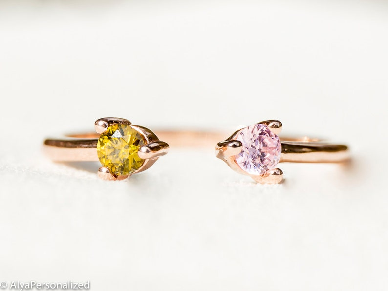 a438573a3736a Dual Birthstone Ring - Rose Gold Ring - Couples Ring - Personalized Ring -  His and Hers Promise Ring