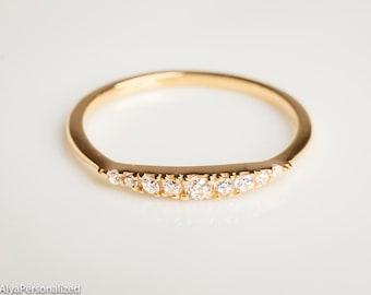 Diamond Wedding Band - Wedding Band Women - Diamond Wedding Ring - Half Eternity Band - Gold Wedding Band - Diamond Eternity Band