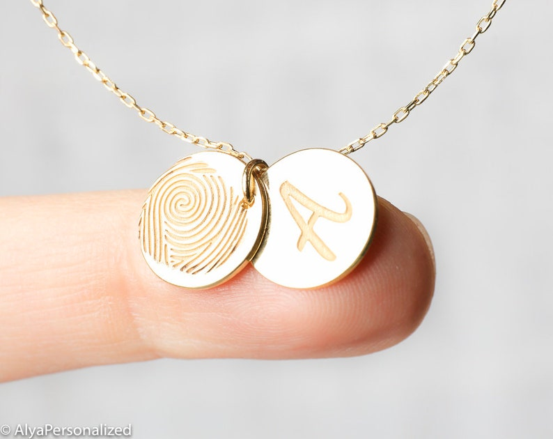 Custom Personalized Necklace Gift Fingerprint Necklace Gold Jewelry Handmade Necklaces For Women Gold Initial Necklace Letter Necklace