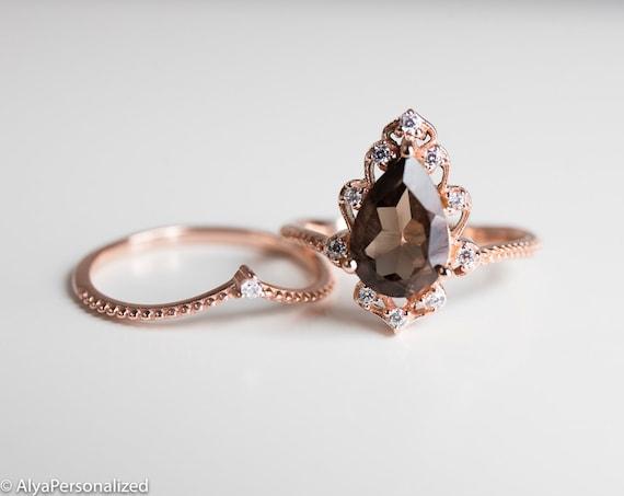 Rose Gold Engagement Ring Set, Wedding Ring Set , Vintage Style Engagement  Ring, Unique Engagement Ring, Smoky Quartz Ring, Womens Rings