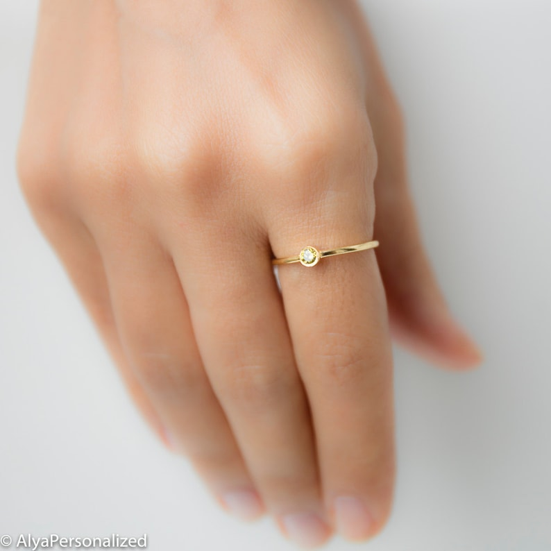 72710dfb20683 Birthstone Ring - Personalized Gift - Promise Ring - Thin Gold Ring -  Personalized Jewelry - Dainty Ring - Stacking Rings