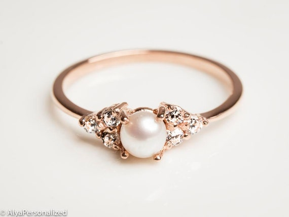 rose gold wedding rings for women 14k gold engagement ring pearl engagement ring 7125