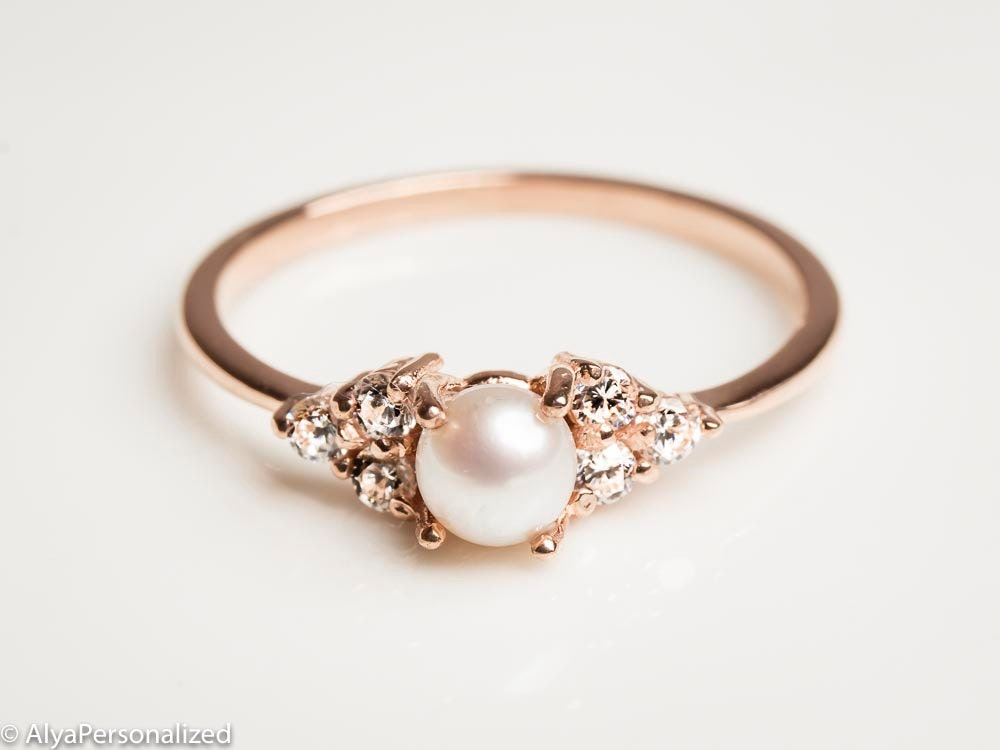 14k Rose Gold Engagement Ring Pearl Engagement Ring Etsy