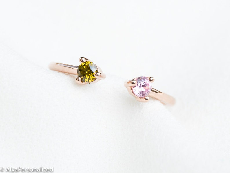 Rose Gold Ring Couples Ring Dual Birthstone Ring His and Hers Promise Ring Personalized Ring