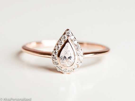 Pear Cut Engagement Ring Unique Engagement Ring Halo Etsy