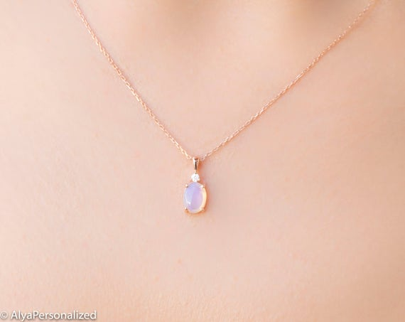 Moonstone Necklace Rose Gold Minimalist Necklace Simple Etsy