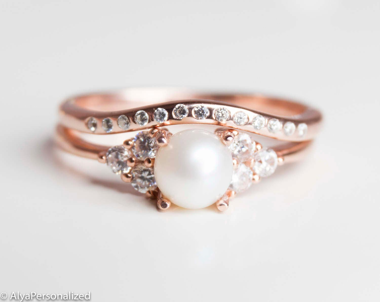 9ad20a38e Rose Gold Wedding Ring Set Engagement Ring Set Vintage | Etsy
