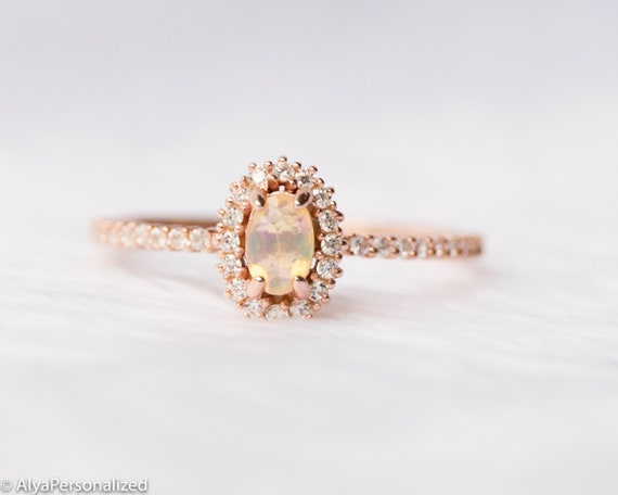 14k Rose Gold Opal Diamond Halo Engagement Ring, Jewelry Handmade, Antique  Vintage Style Engagement rings for Women,Promise Anniversary Ring