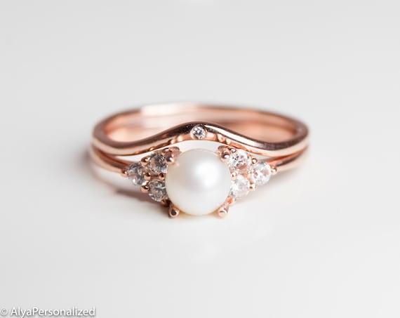 Rose Gold Engagement Ring Set Pearl Engagement Ring Etsy