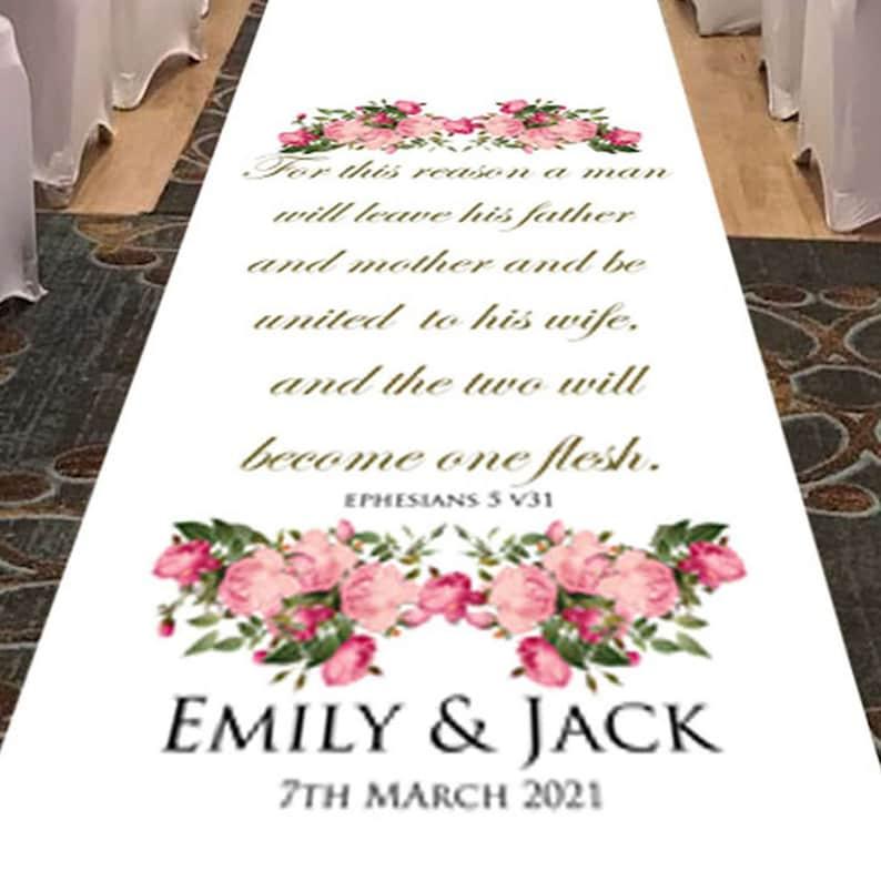 Aisle Runner Wedding Decorations White Wedding Aisle Runner Wedding Ephesians 5 Vs31 Bible Reading Personalized Aisle Runner