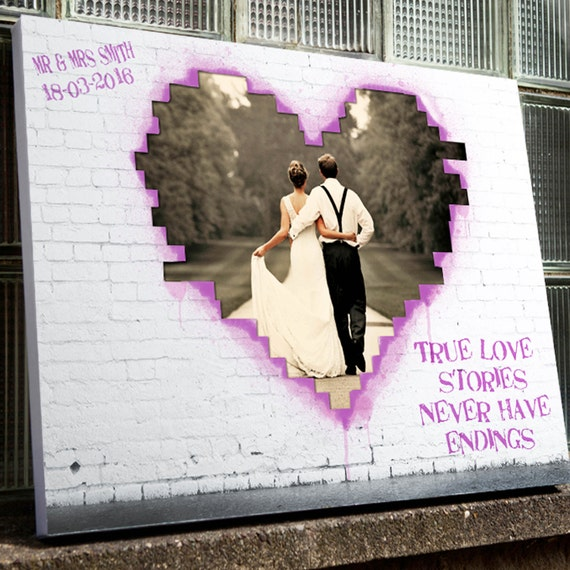 Banksy Stil Personalisierte Hochzeit Foto Hochladen Leinwand Etsy