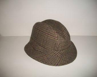 Men's Vintage Brown Tweed Wool Blend Trilby Hat Size L
